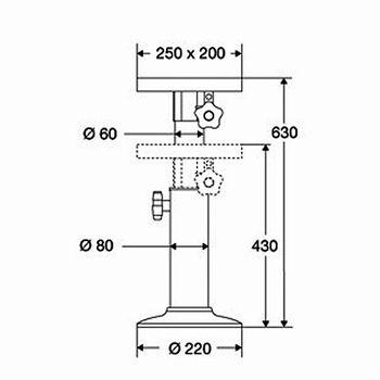 barka Bootsstuhl Halterung manuell ausziehbar 43cm-63cm – Bild 2