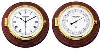 Wempe Serie Skipper Messing/Mahagoni Ø210mm - Schiffsuhr und Barometer 001