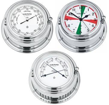 Wempe Serie Bremen II Messing verchromt - Funkraum Schiffsuhr, Barometer und Comfortmeter – Bild 1