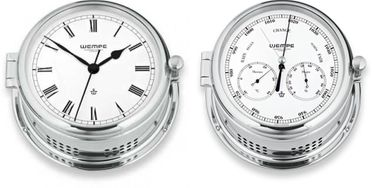 Wempe Serie Admiral II Messing verchromt - Quarz-Glasenuhr und Kombi-Messinstrument – Bild 1