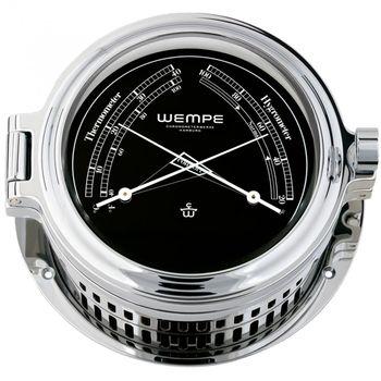 Wempe Serie Regatta Chrom Ø 140mm - Bullaugen Yachtuhr mit römischen Ziffern, Barometer und Comfortmeter – Bild 2