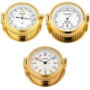 Wempe Serie Regatta Messing vergoldet, Schiffsuhr mit Flaggen-Zifferblatt, Barometer und Hygro-/Thermometer 001