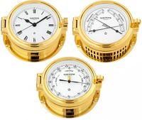 Wempe Serie Regatta Messing vergoldet, Schiffsuhr mit römischen Ziffern, Barometer und Comfortmeter 001