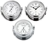 Wempe Serie Cup Chrom Ø 140mm - Schiffsuhr mit arabischen Ziffern, Barometer und Hygro-/Thermometer 001