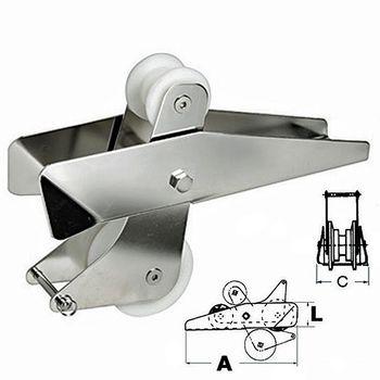 Osculati Edelstahl Bugrolle mit Wippe - 320mmx90mmx70mm - für alle Ankertypen bis 14kg