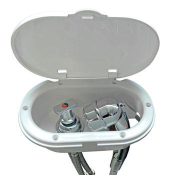 Osculati Kunststoff Brausearmatur, verchromt, mit 4 m PVC Schlauch, Wassermischbatterie und Luran Einbaukasten mit weißer Klappe – Bild 2