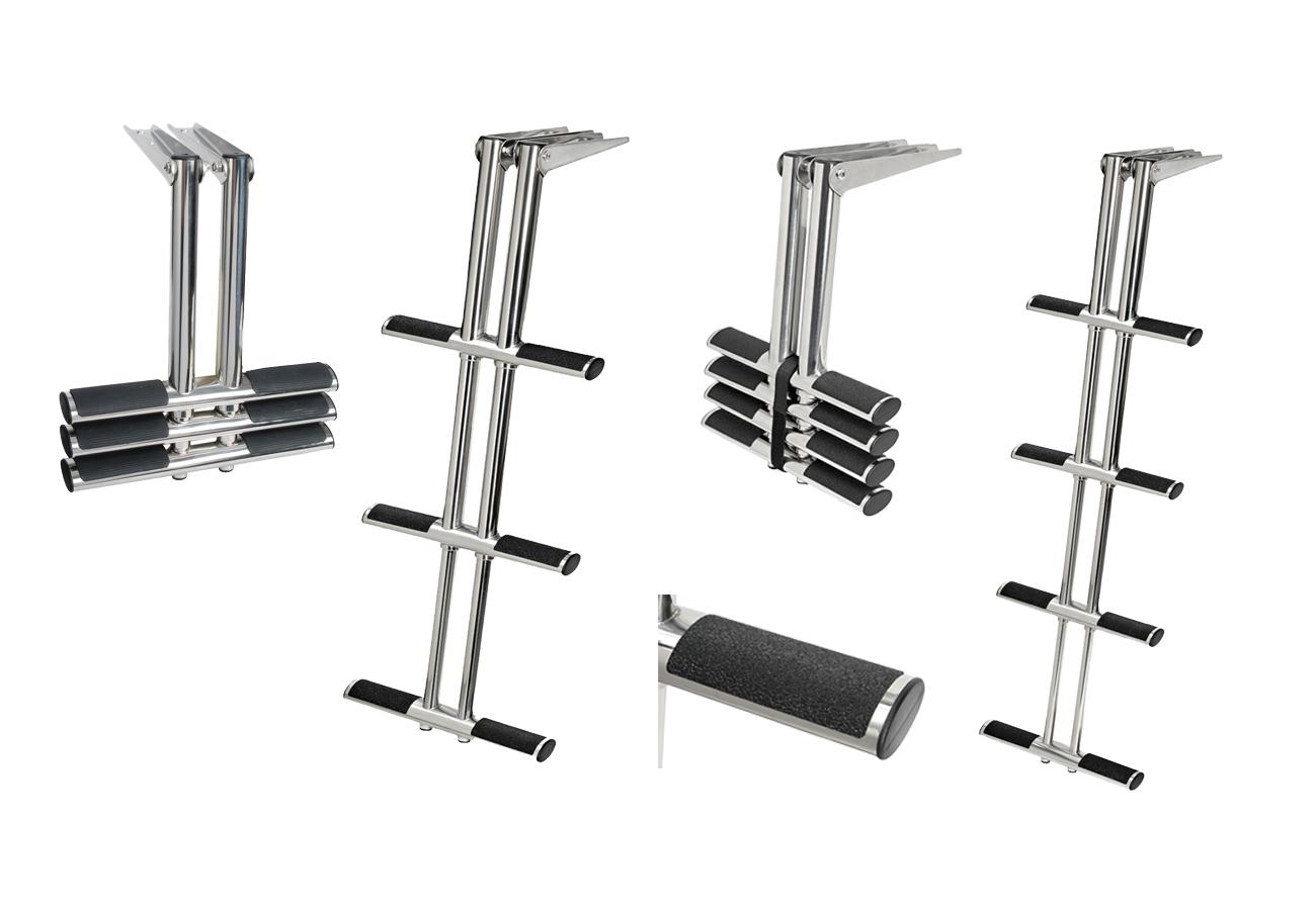 """Osculati Edelstahl Teleskop Leiter """"Diver"""" für Badeplattformen - erhältlich mit 3 oder 4 Stufen -"""