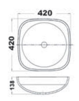 Osculati Glas Waschbecken - 42cmx42cmx13,8cm - inkl. passender Ablaufgarnitur aus verchromtem Messing – Bild 2