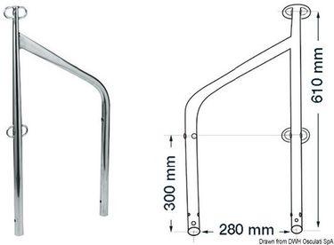 Osculati Edelstahl Relingstütze doppelt für Tore mit Ösen - 61cm hoch -
