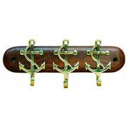 Schlüsselbrett mit 3 Ankerhaken aus Holz/ Messing 001
