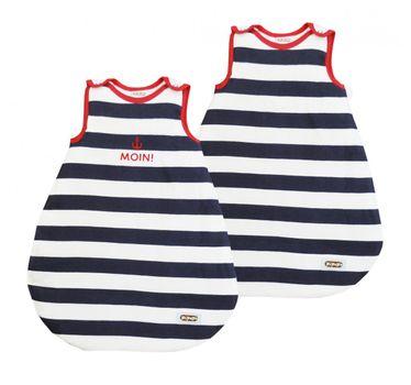 PiPaPo Babyschlafsack wahlweise mit Aufdruck marine/weiß-gestreift – Bild 1