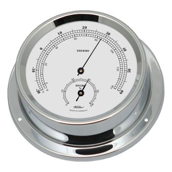 Fischer maritimes Thermo/Hygrometer, Messing verchromt, 125mm