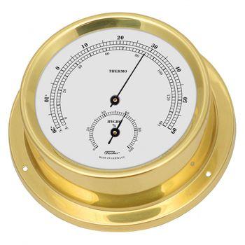 Fischer maritimes Thermo/Hygrometer, Messing poliert oder Edelstahl, 125mm