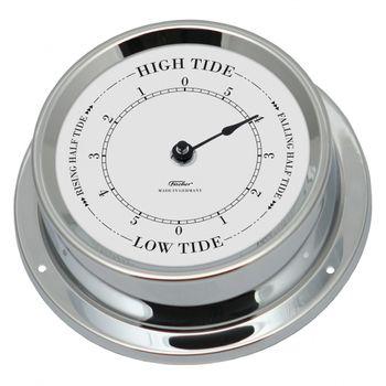 Fischer maritime Tiden-Uhr, Messing verchromt oder Edelstahl, 125mm – Bild 2