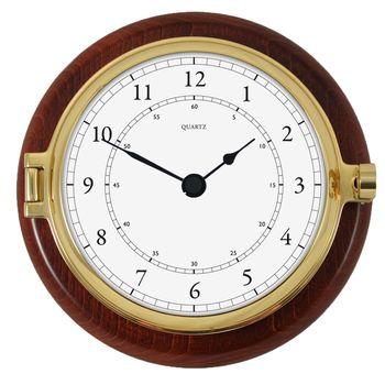 Fischer Quarz-Uhr auf mahagonifarbenen Holzgehäuse, Durchmesser 200 mm