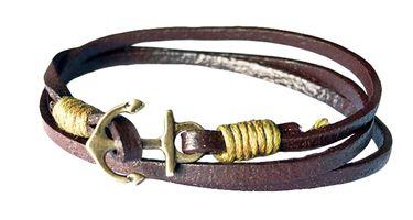 Batela Leder Wickelarmband mit Anker – Bild 2