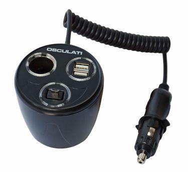 Osculati 12 Volt Verlängerung und Strombuchse max. 8 A + Doppel USB + einziehbare Mikro USB 2,5 A – Bild 1