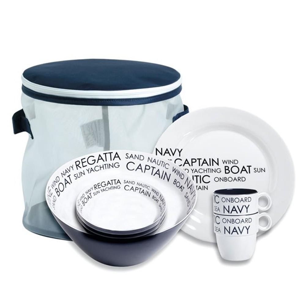 marine business melamin bootsgeschirr campinggeschirr 6 teilig f r 4 personen ebay. Black Bedroom Furniture Sets. Home Design Ideas
