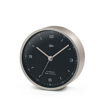 Barigo Quarz-Uhr Pentable Messing vernickelt matt 10cm Tisch Wand