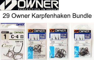 4 Pakete Owner Karpfenhaken (Gr. 1/0, 1, 2, 8) - 29 Haken – Bild 1