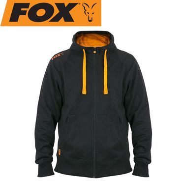 Fox Black Orange lightweight zipped Hoodie - Angelpullover – Bild 1