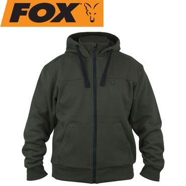Fox Green Black heavy lined Hoodie - Angelpullover – Bild 1