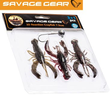 Savage Gear Reaction Crayfish 7,5cm Kit - 3 Gummikrebse + Bleikopf – Bild 1