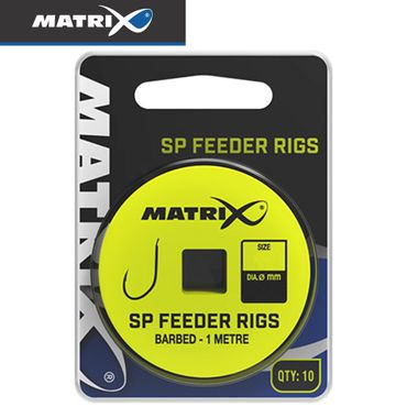 Fox Matrix SP Feeder Rigs barbed 1m - 10 gebundene Angelhaken – Bild 1
