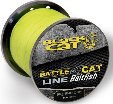 Black Cat Welsschnur Battle Cat Line Baitfish 1000m 0,55mm 80kg gelb – Bild 2