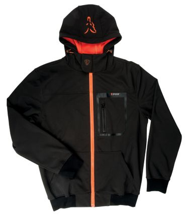 Fox Black / Orange Softshell Hoodie Angeljacke Fox Black / Orange Softshell Hoodie Angeljacke – Bild 2