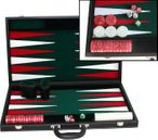 leatherette backgammon case large - green field