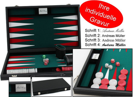 leatherette backgammon case medium - green field, incl. Engravement