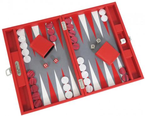 Backgammon BUFFALO B20L Rouge Medium, Alcantara playground, Hector Saxe, Paris