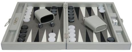 Backgammon CARBONE B21L Gris Medium, Alcantara Spielfeld, Hector Saxe, Paris