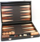 Backgammon Milos medium 1163, from Philos with inlaid work, black lacquered