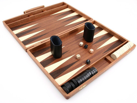 Edelholz Backgammon Koffer Mahagoni - Weible