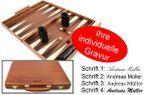 Engraved Precious wood backgammon case mahagany - Weible - idea for gift