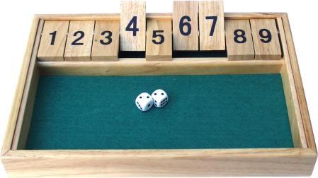SHUT THE BOX, 9-shut variation, 1 - 9, dice game