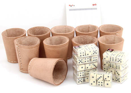 Ludomax 325135 Bundle 10 Dice cup with 6 dice each, Leather, 9cm nature