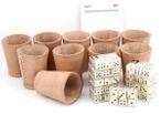 Ludomax 325135 Bundle 10 Würfelbecher mit jeweils 6 Würfeln, Echt Leder, ca. 9cm