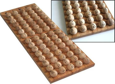 75 Bingo balls made of wood - numbered