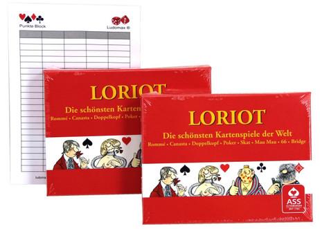 Loriot Spielkarten Rommé uvm. Doppelpack von ASS im Set mit Ludomax Block