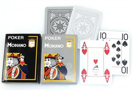 2x Poker 4J Gray und Black  von MODIANO, 100% plastic Casino Pokerkarten