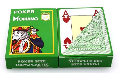 Zweierpaket Poker von Modiano, 100% plastic, 4 Jumbo Index, Farbe hellgrün