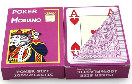 Zweierpaket Poker von Modiano, 100% plastic, 4 Jumbo Index, Farbe violett