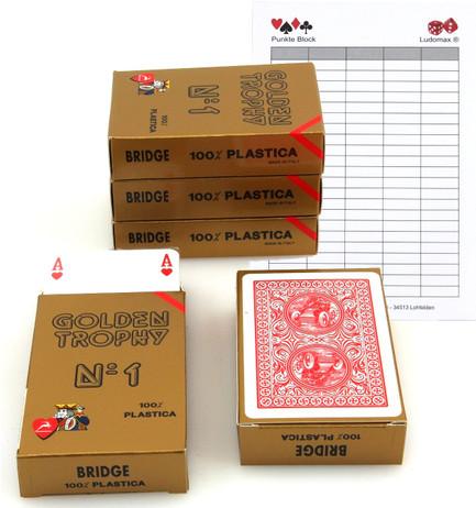 Fünferpaket Golden Trophy No.1 rot von Modiano, 100 % plastic Spielkarten
