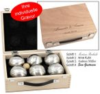 OBUT 6-SET, Leisure time Boules in the wood case, with engraving Image 1