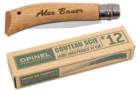 Opinel Klapp Baumsäge mit 12 cm Blatt, mit Gravur, Geschenk für Garten Fan