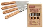 Opinel Kitchen Knife Set, 4-piece, stainless steel, with engraving
