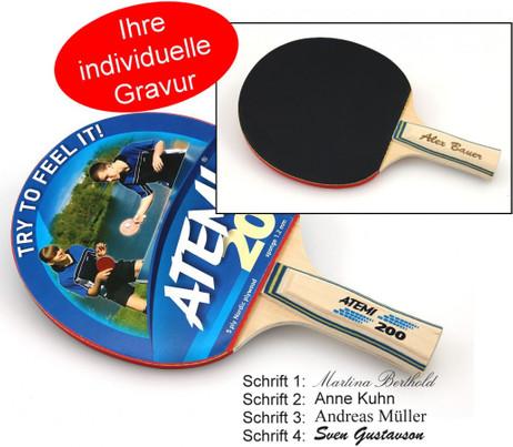 atemi 200 tischtennis schl ger geschenk idee mit individueller gravur outdoor sport spiele. Black Bedroom Furniture Sets. Home Design Ideas
